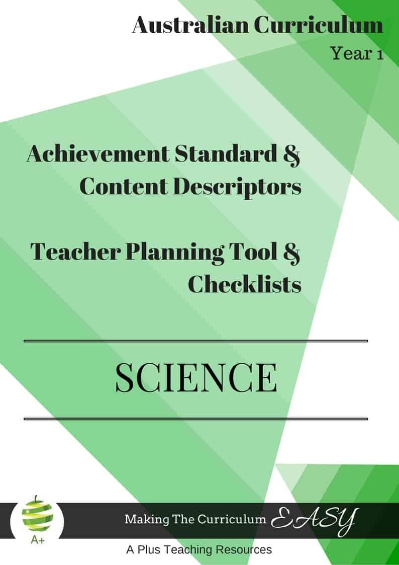 Y1 Editable Science Checklists