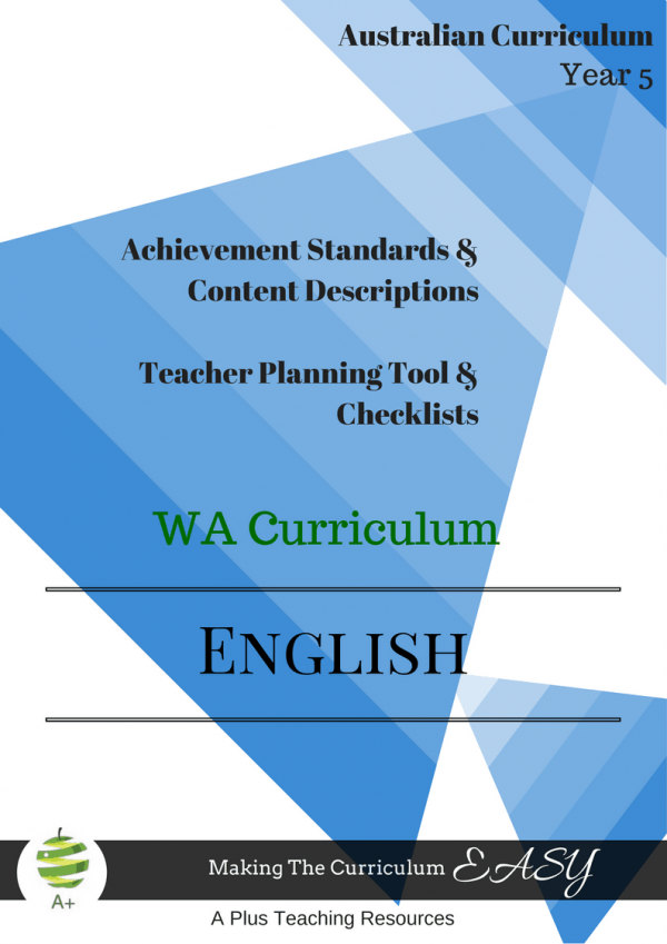Editable Checklists English WA year 5