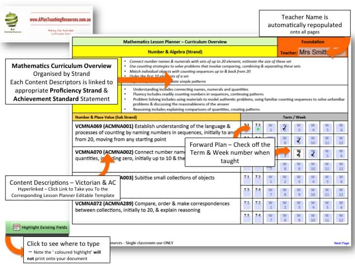 Lesson Planner Maths VICC Foundation