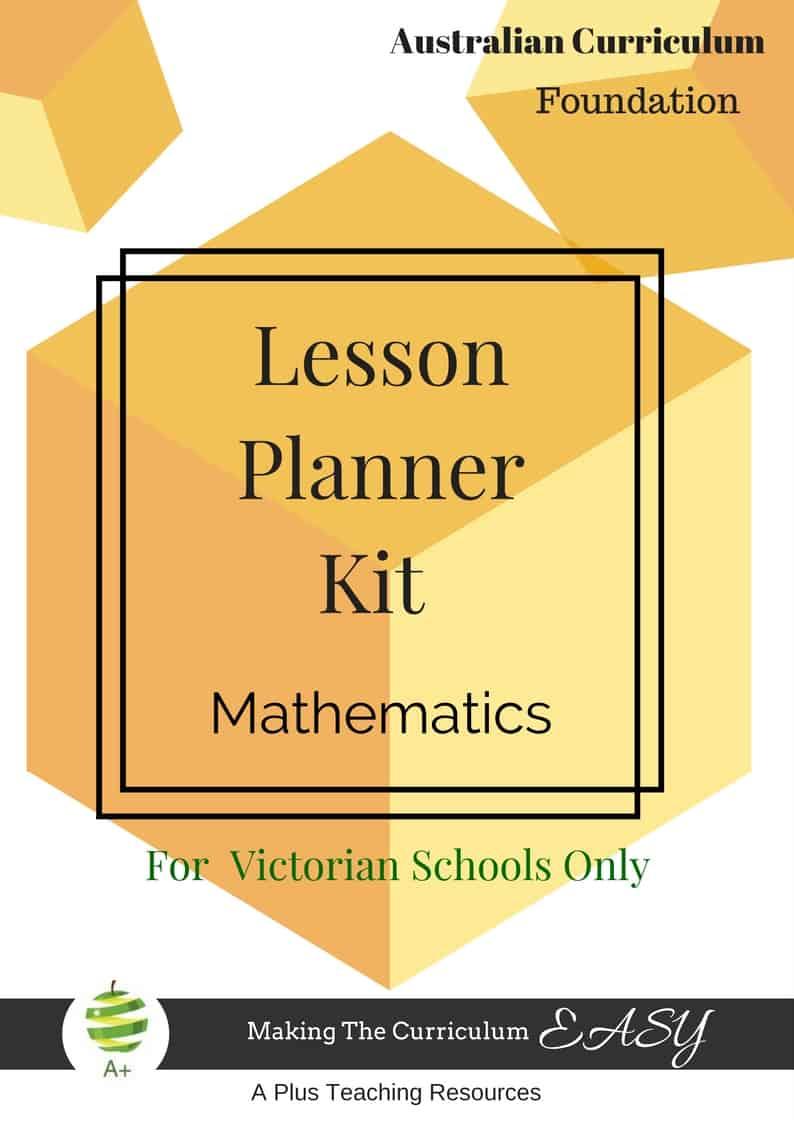 Lesson Planner - Maths - Foundation -Victorian Curriculum