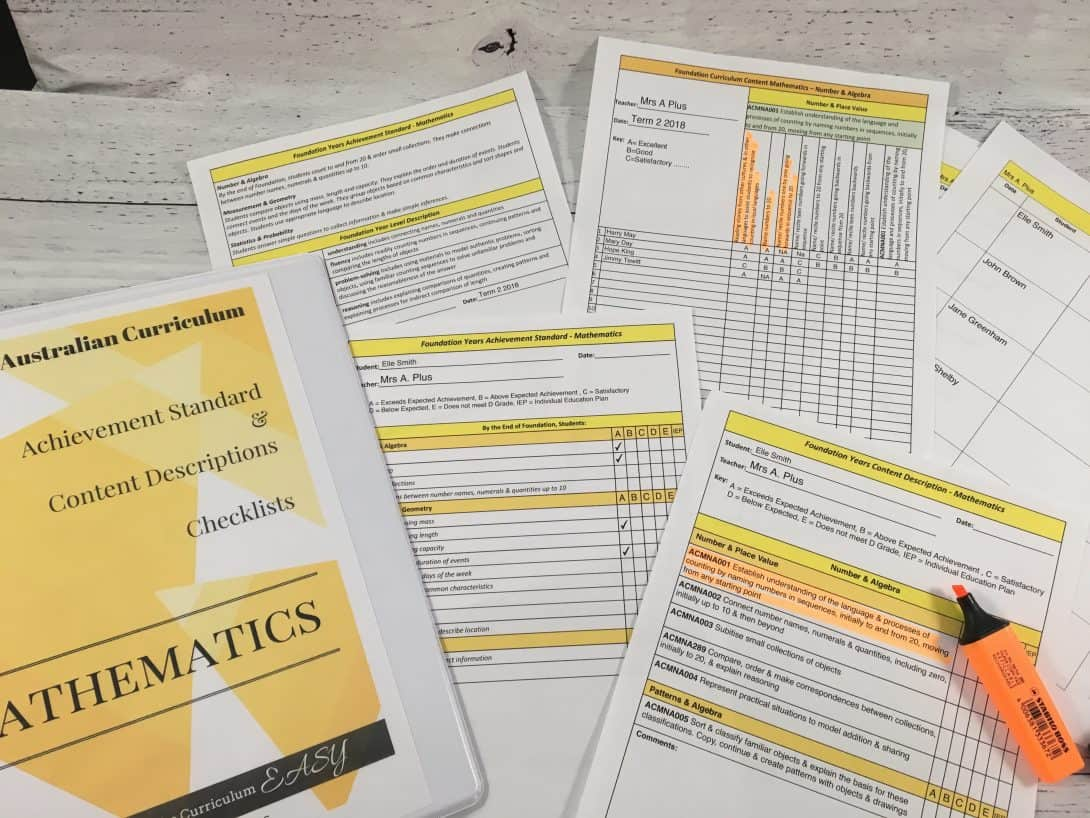 Planning, Assessing & Reporting Checklists For A Plus Teachers