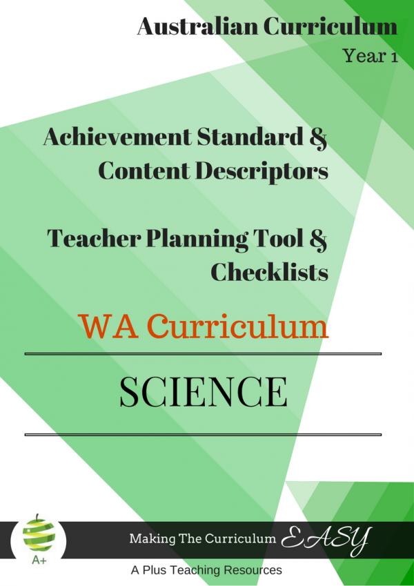 WA Science Curriculum Year 1
