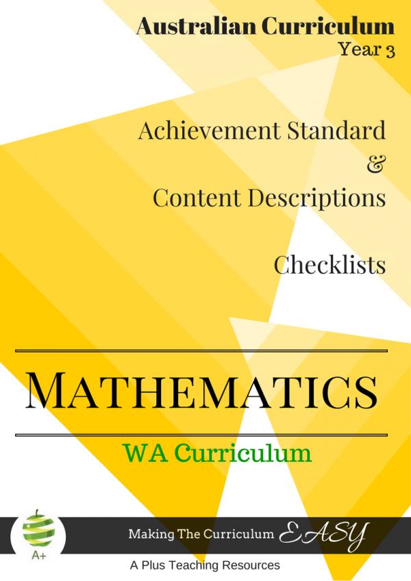 Year 3 WA Maths Checklists