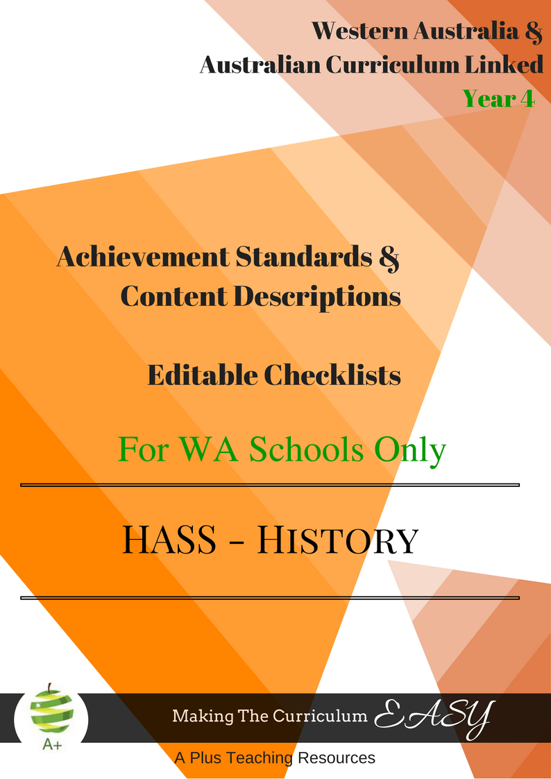 WA HASS Y4 History Checklists