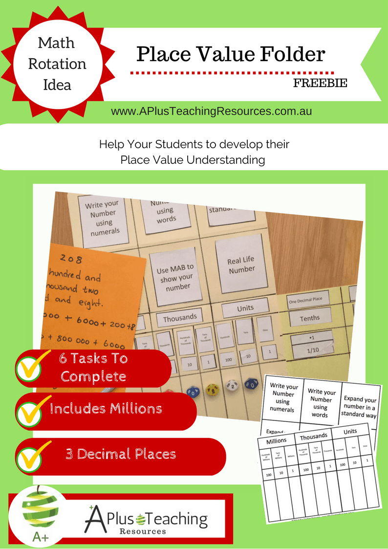 Place Value Folder template