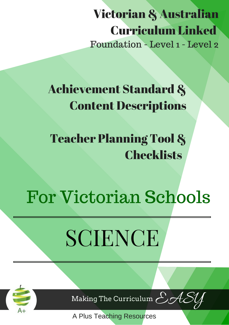 Foundation, Year 1, Year 2, Victorian Curriculum Science