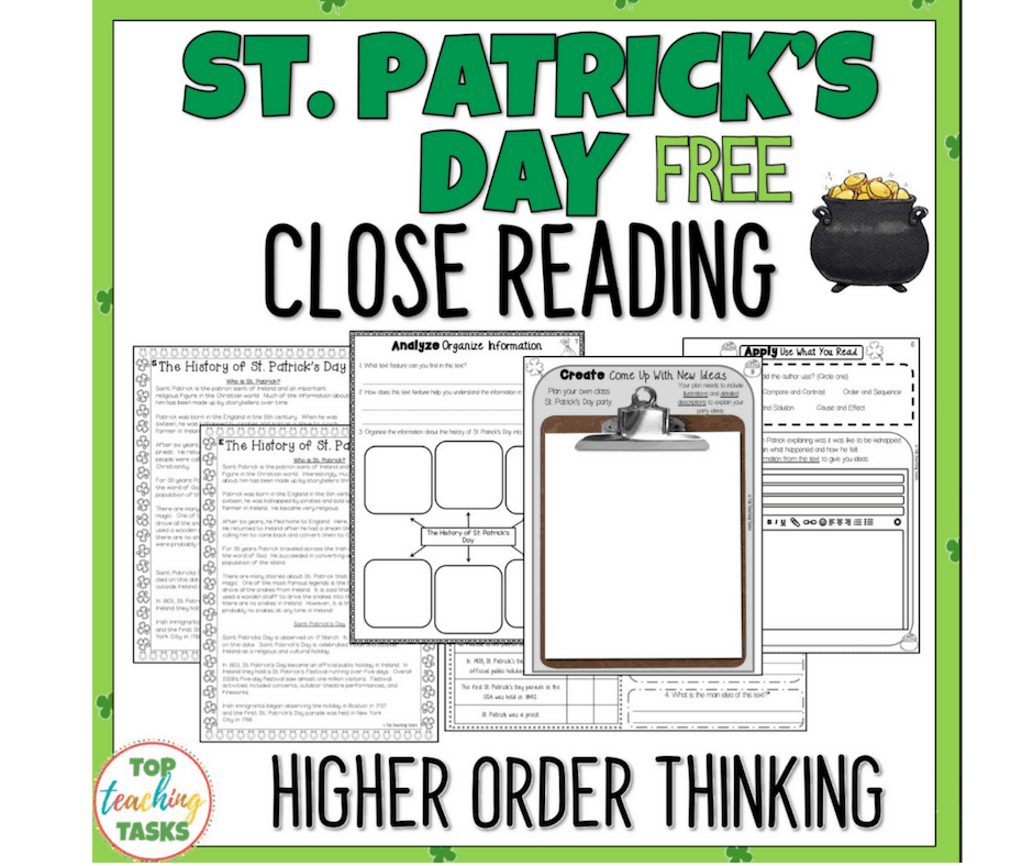 St Patrick's Day Free Close Reading Tasks