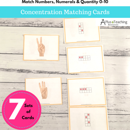 Numbers 0-10 concentration matching cards
