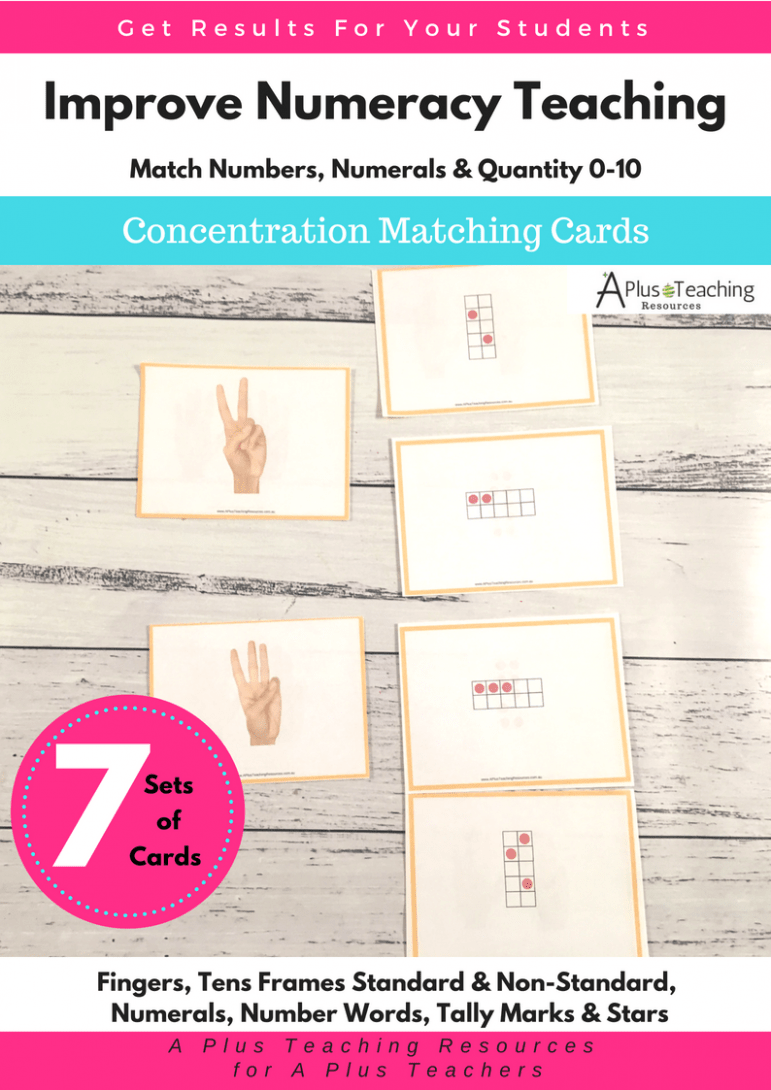 Teaching Number Recognition Activities 0-10 concentration matching cards