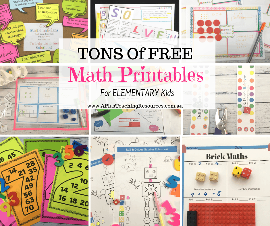 Tons Of FREE math printables for kids
