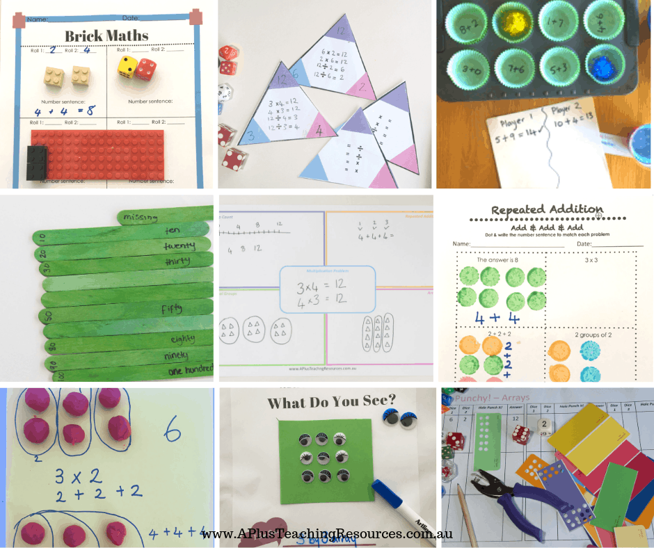 arrays and repeated addition math teaching resources