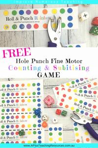 Rainbow Roll, Subitise & Punch FREE Math Game
