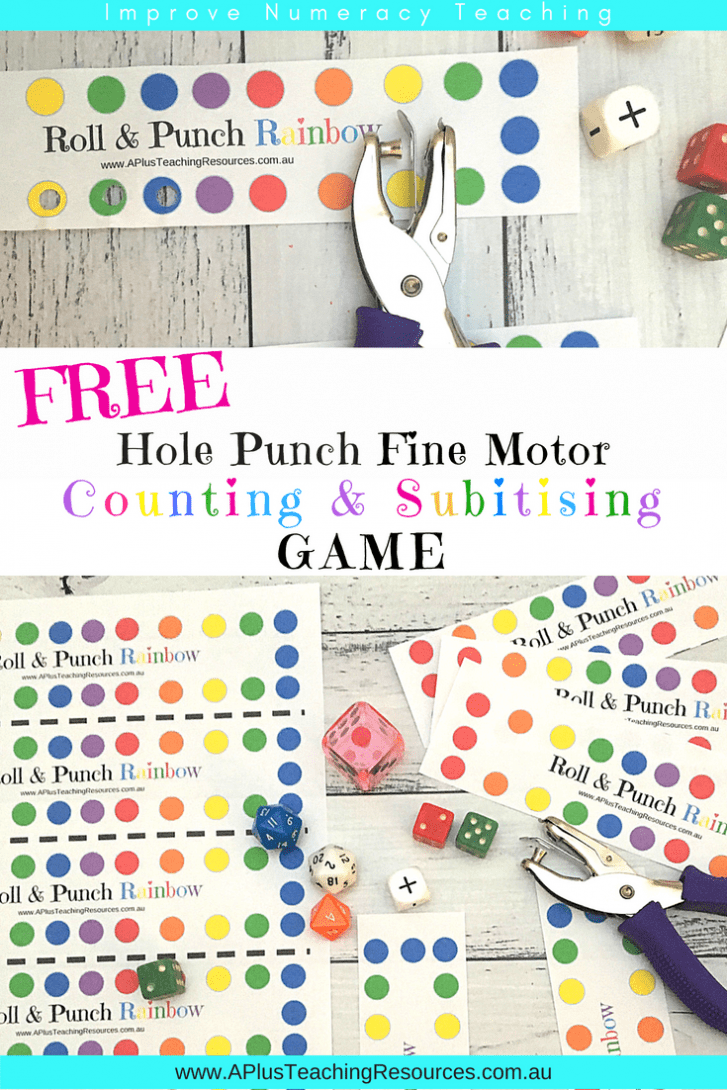 Rainbow Roll, Subitise & Punch FREE Math Game