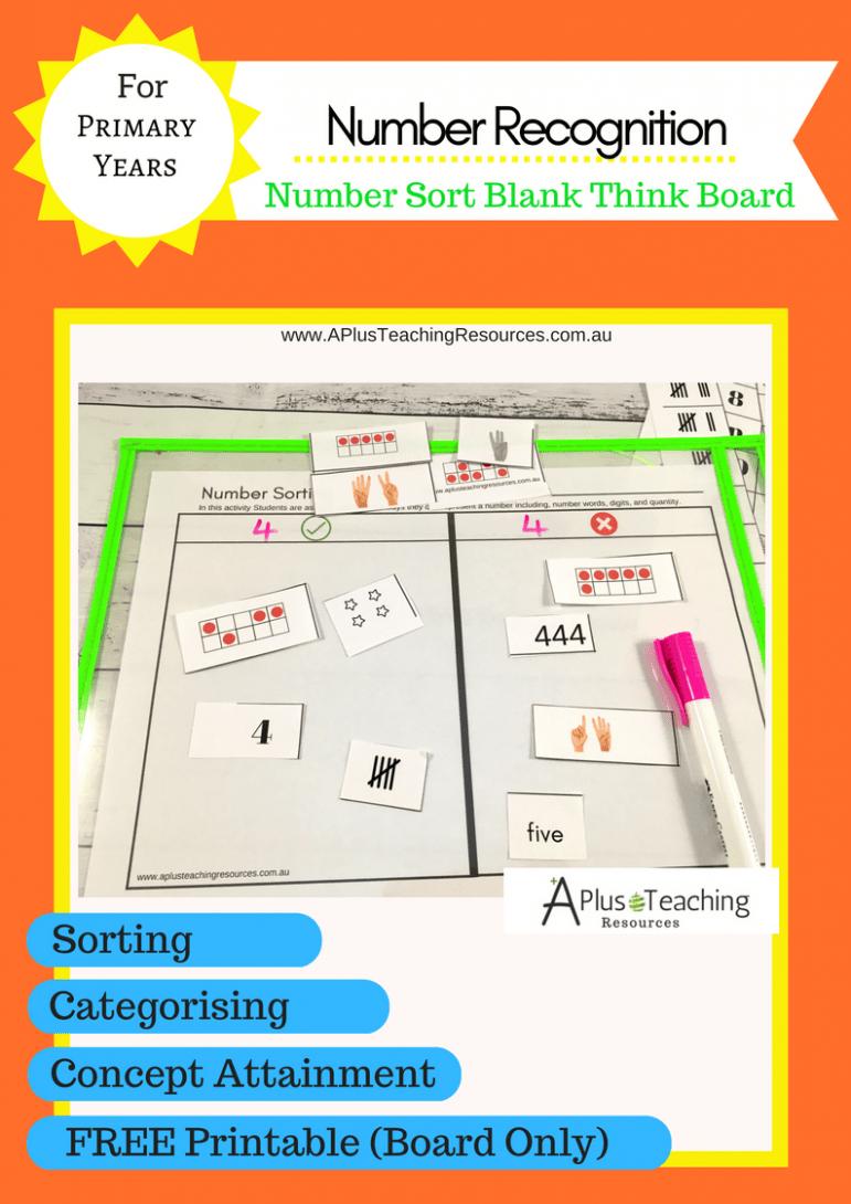 FREEBIE Number Sorting Think Boards
