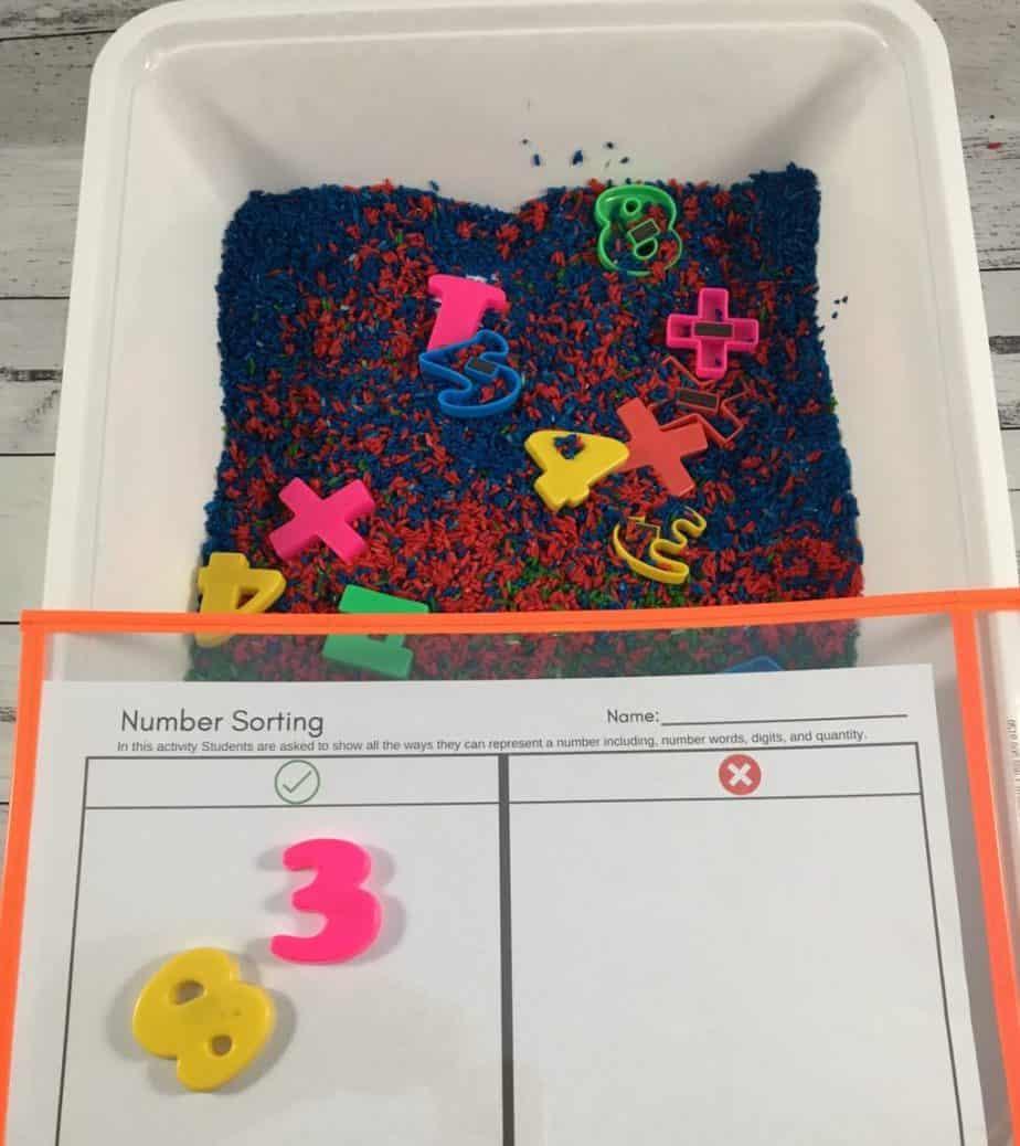 number sort sensory bin