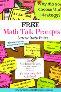 FREE math talk prompt posters