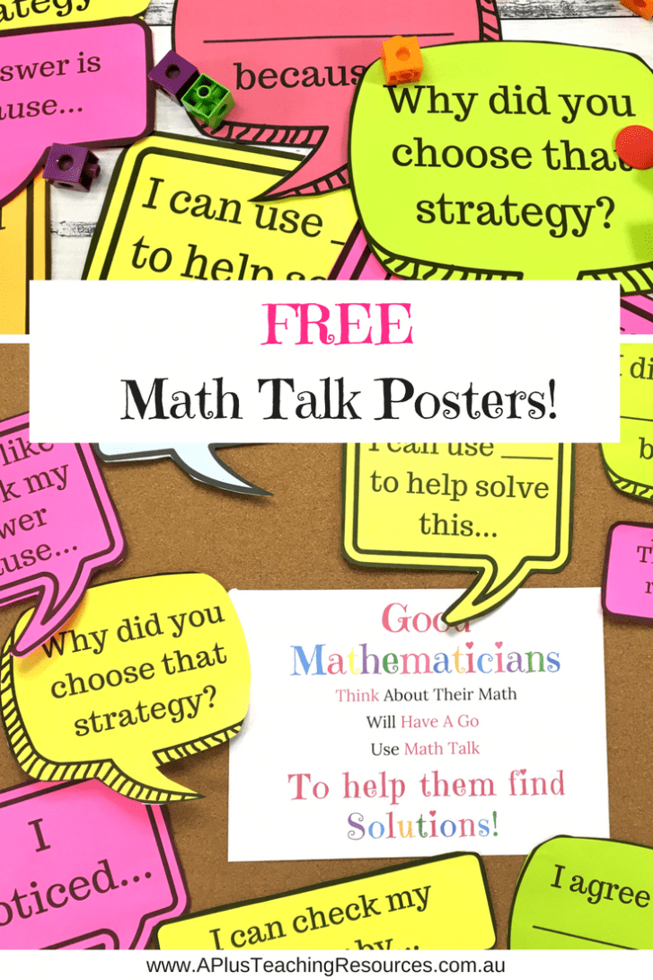 FREE Math Talk Posters For teachers