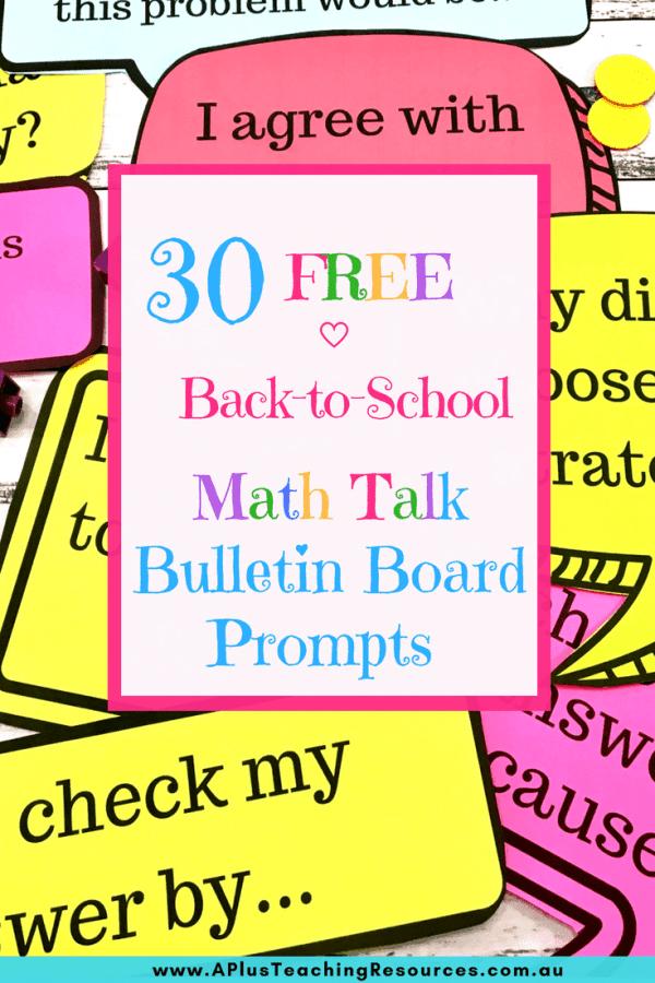 30 Free math talk prompts posters