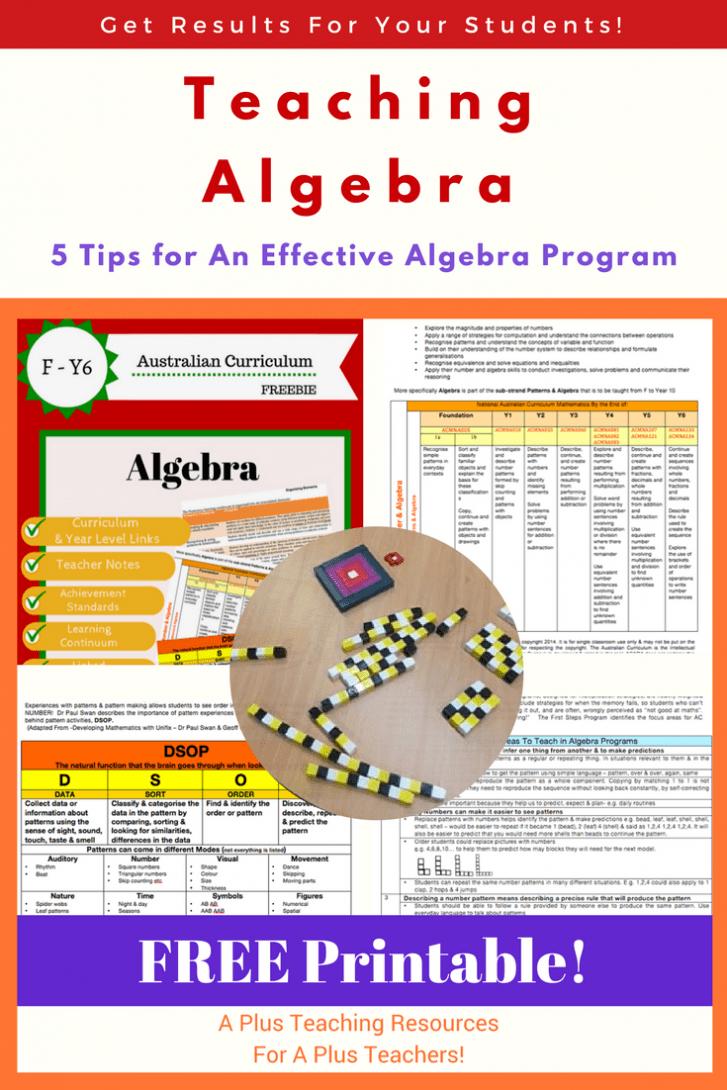 Teaching Algebra in Primary School