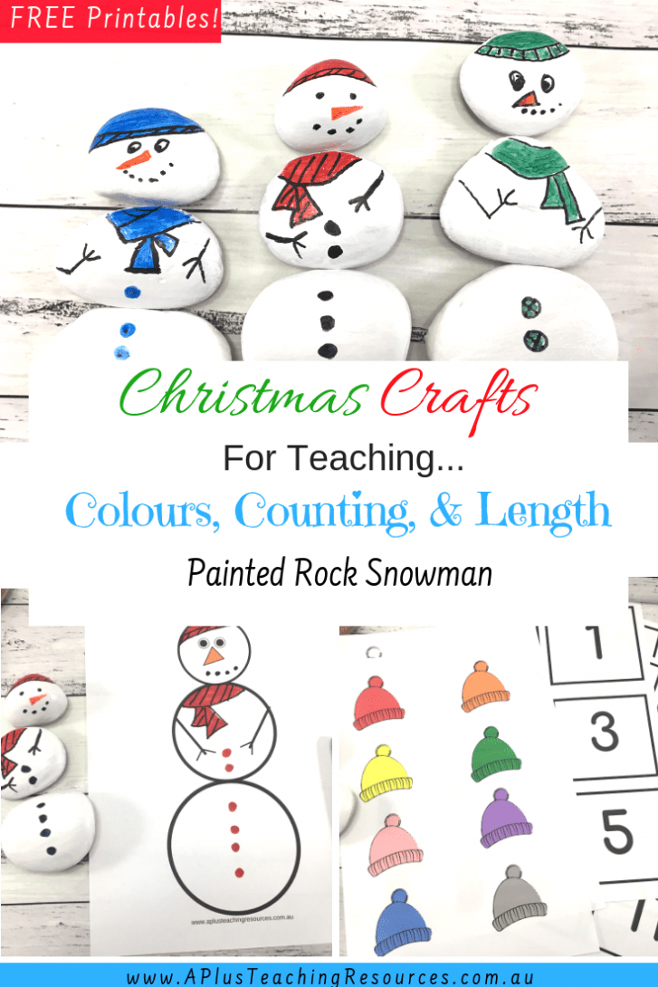 Painted Rock Snowman Christmas Crafts For Teaching