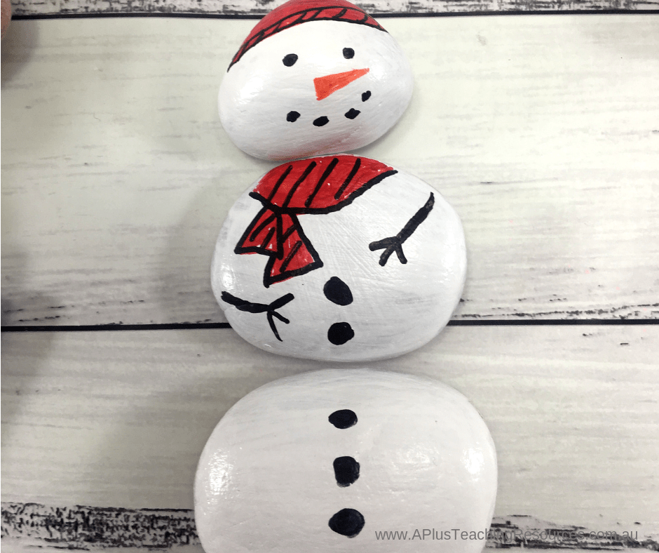 painted rock snowman craft project