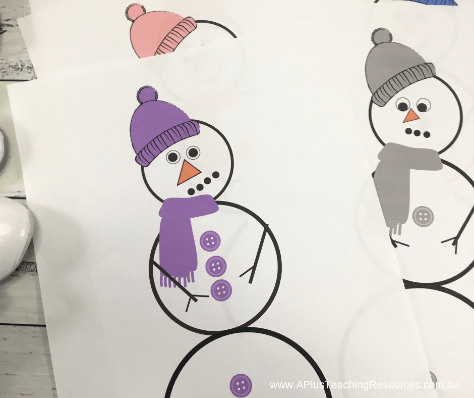 Use the printables to copy a snowman design