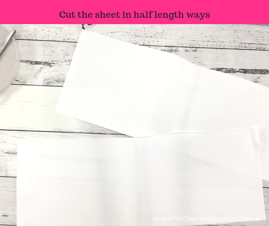 cut paper in half length ways