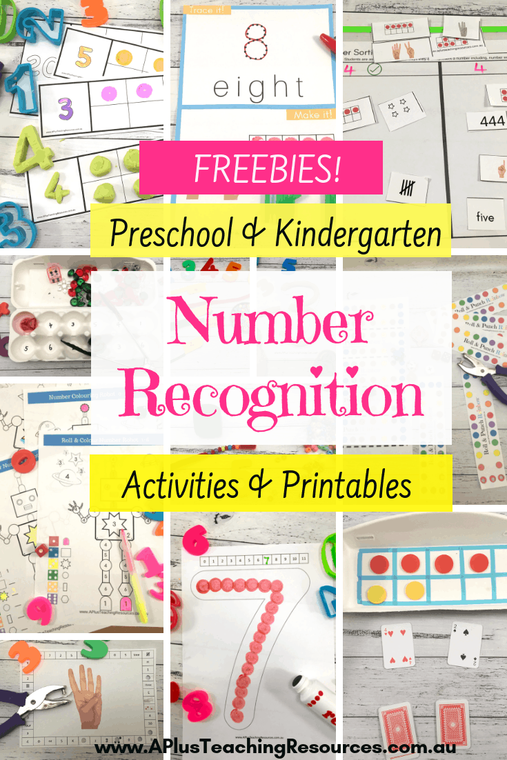 Teaching number recognition freebies for kindergarten