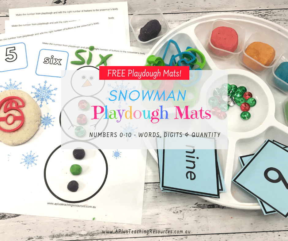 Snowman Number Playdough mats