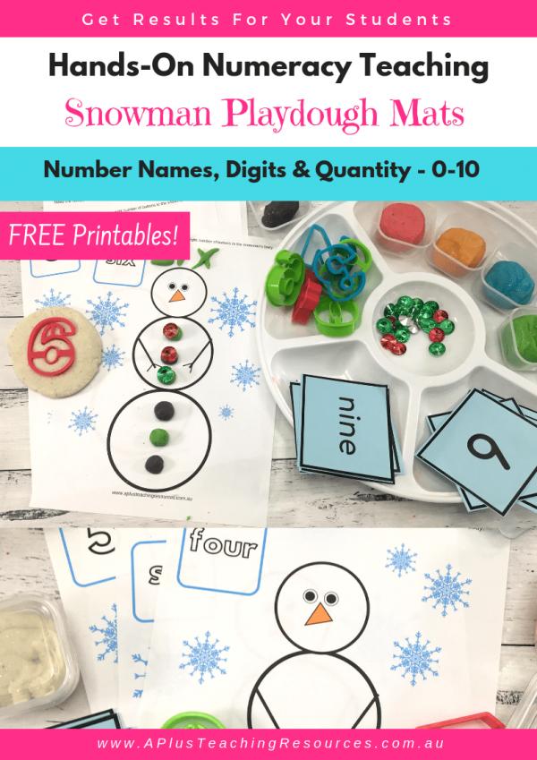 FREE Snowman Playdough mats