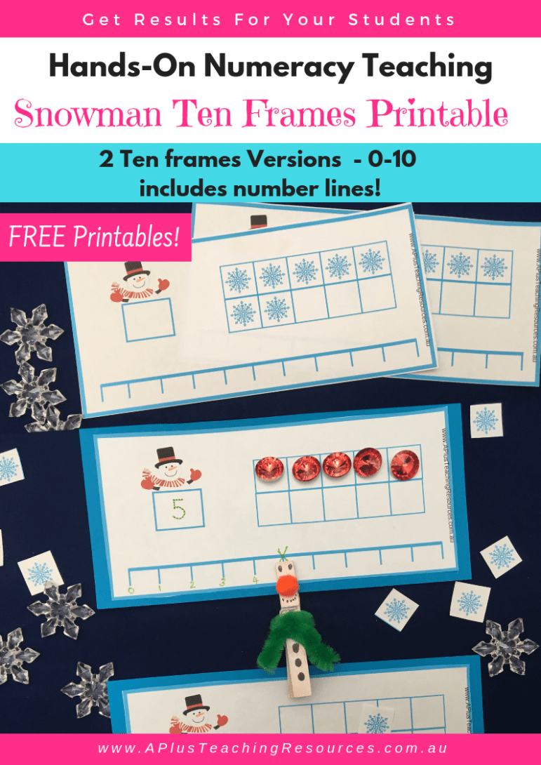 Snowman Ten Frames Free Printable