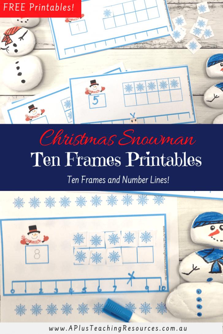 Snowman Ten Frames Printable