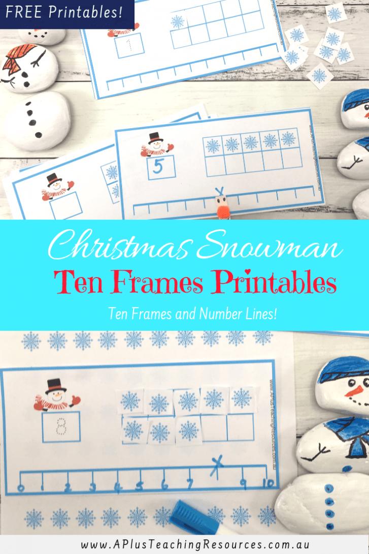 Christmas snowman ten frames FREEBIE