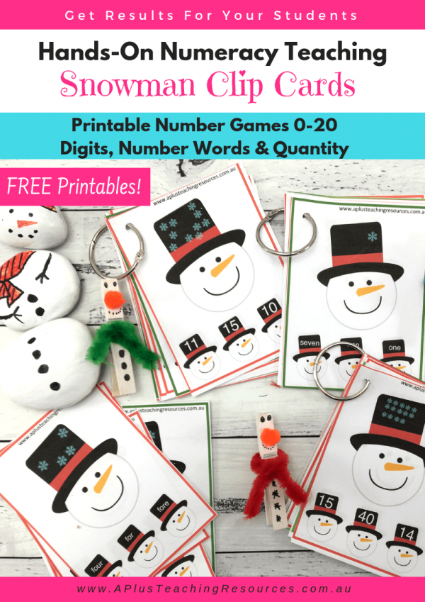 Snowman Clip Cards Number Printables