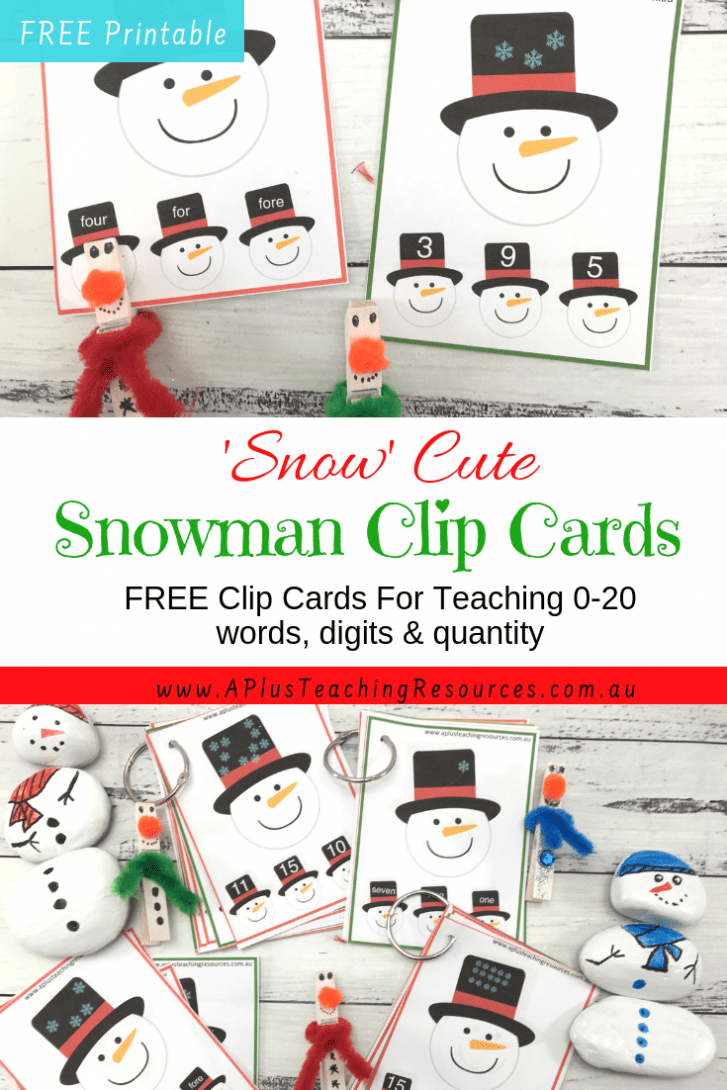 Snowman Clip Card Printable Number games