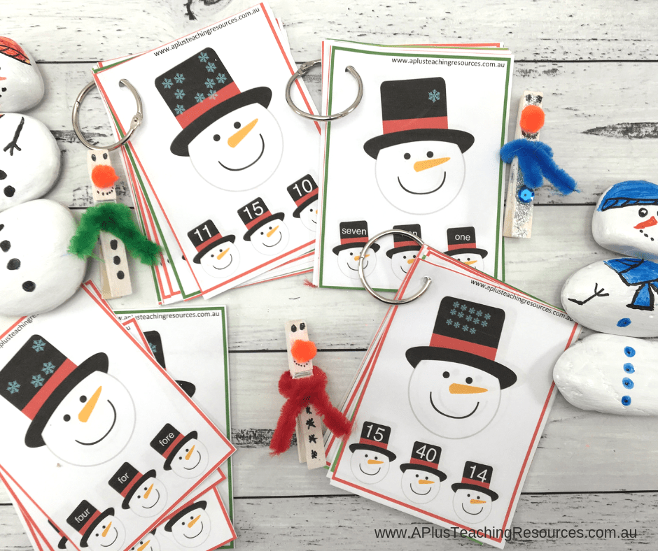 Free Snowman Clip Cards