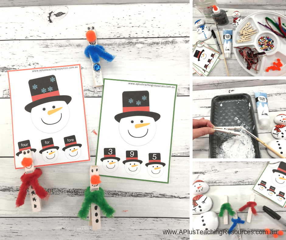 Clothespin Snowmen Craft & Clip Cards
