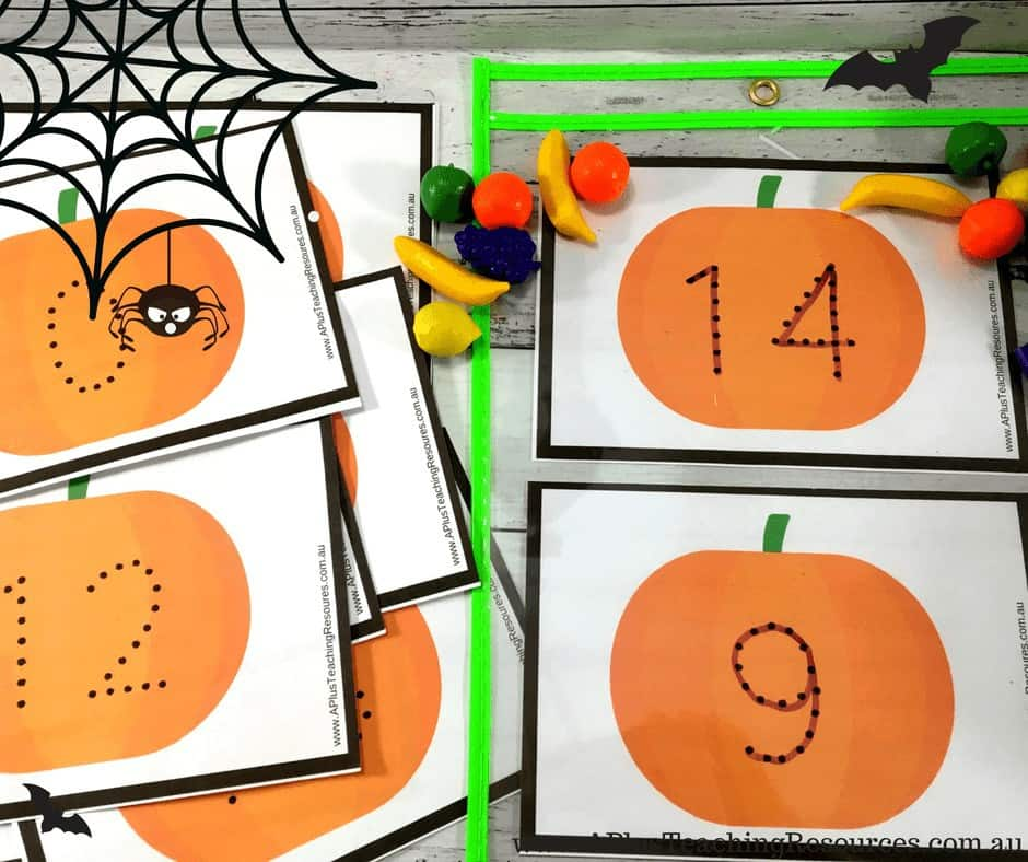 Pumpkin themed number recognition games 0-20