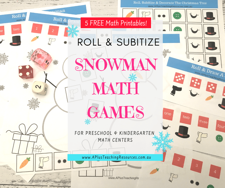 Roll-A-Dice Snowman Math Game {Subitizing & Number Recognition}