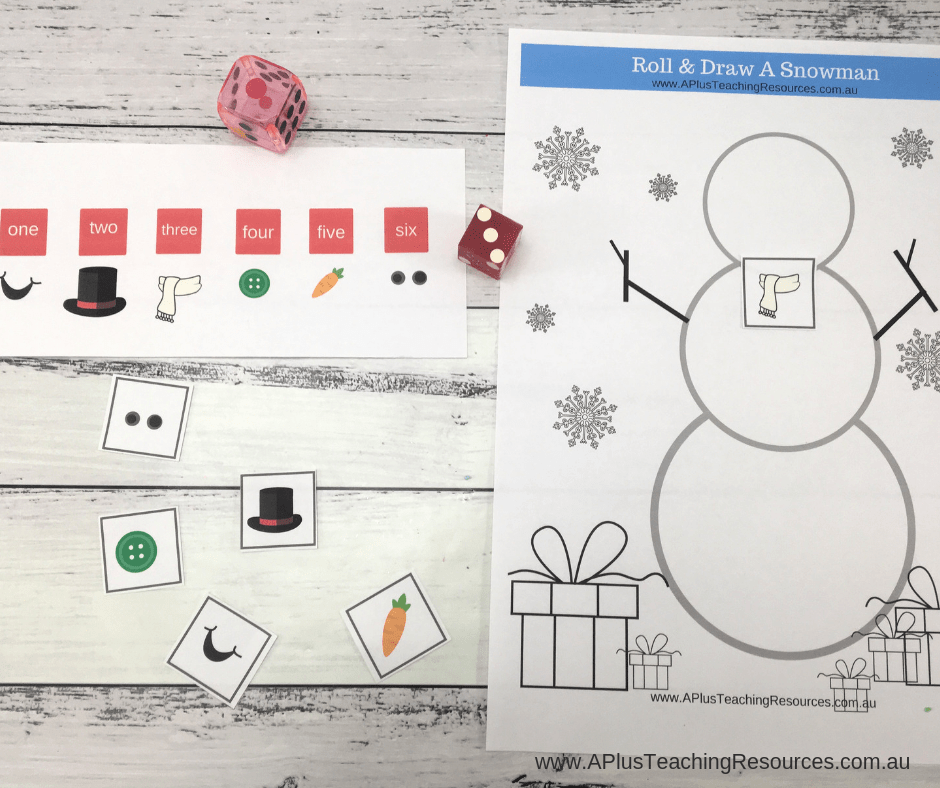 cut and stick snowman math game