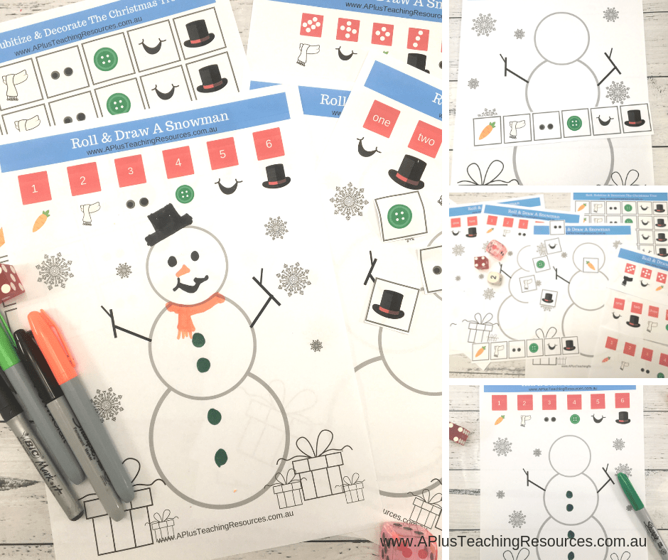 Free snowman math game pack