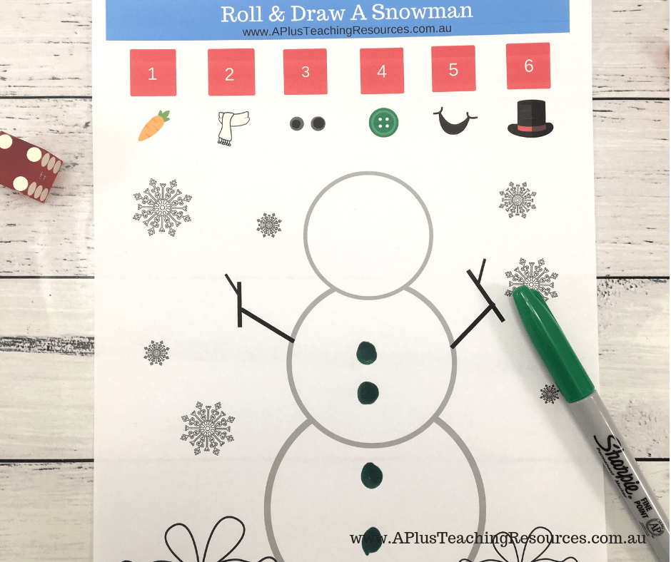 roll and recognize digits snowman math game