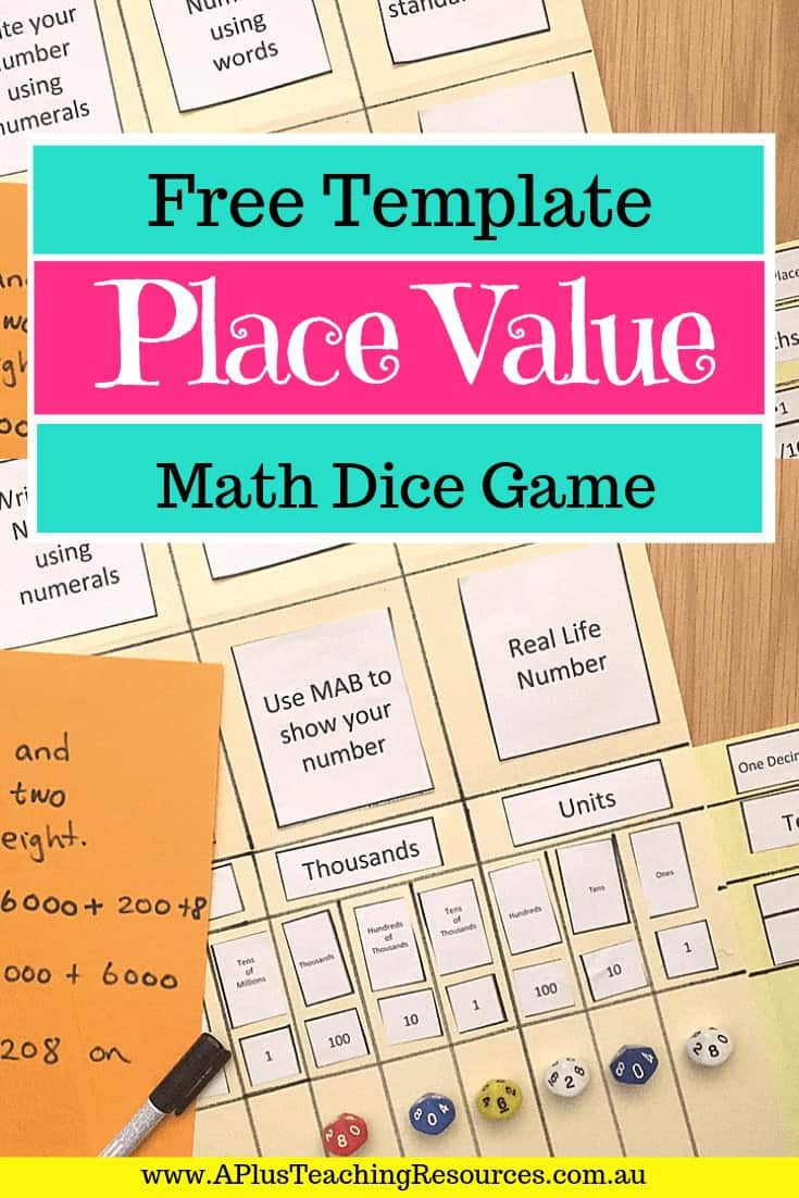 Place Value Folder Dice Game