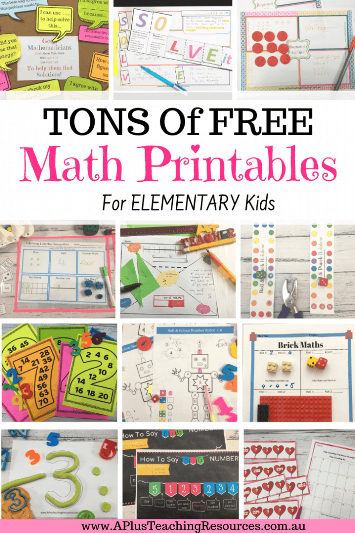 free math printables for kids