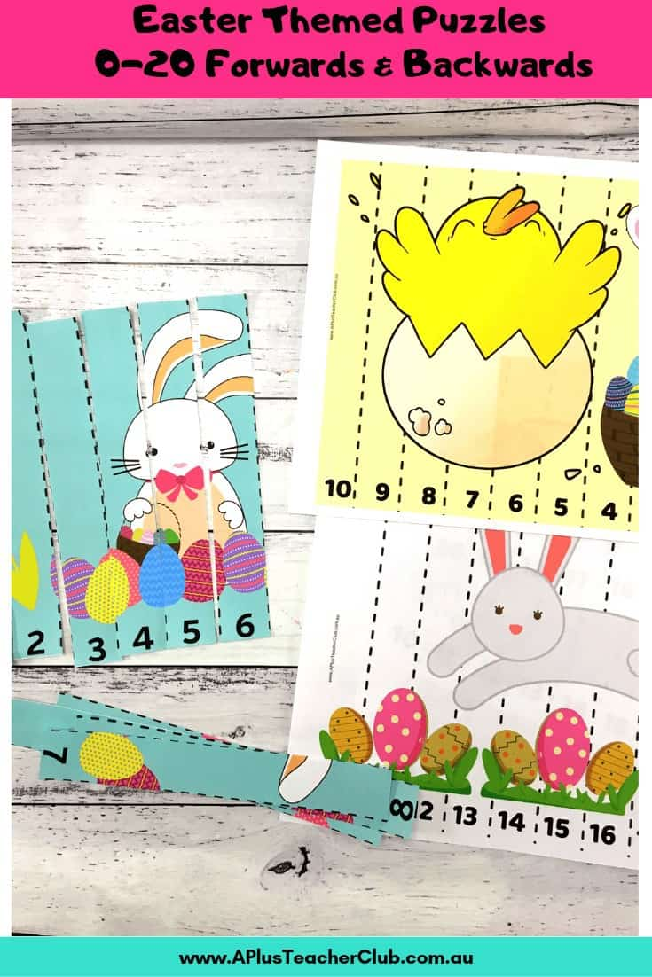 Easter Math Jigsaw Puzzles 0-20