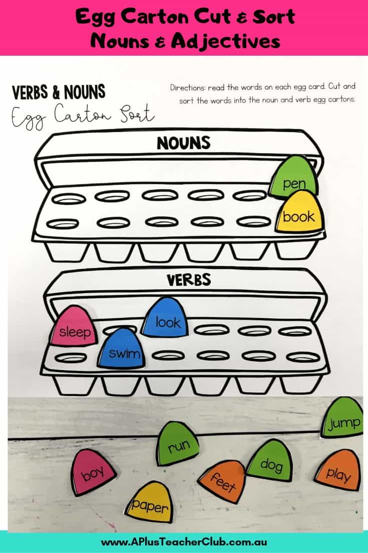 egg carton verb sorting activity