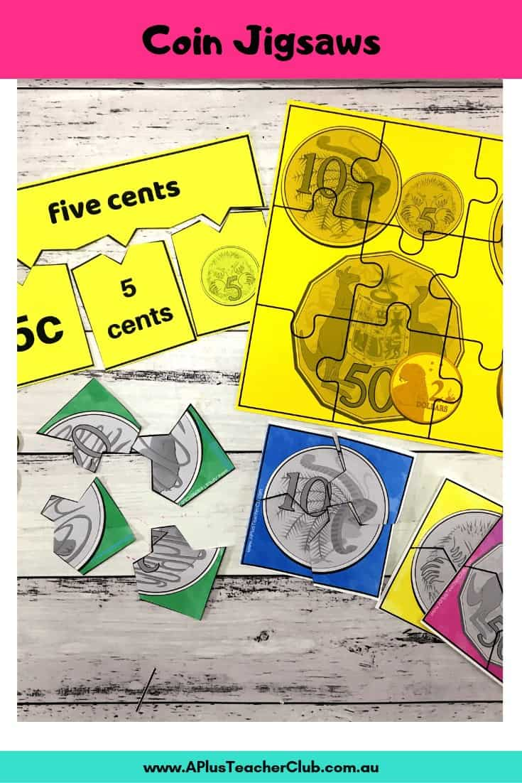 Coin Jigsaw math center printables