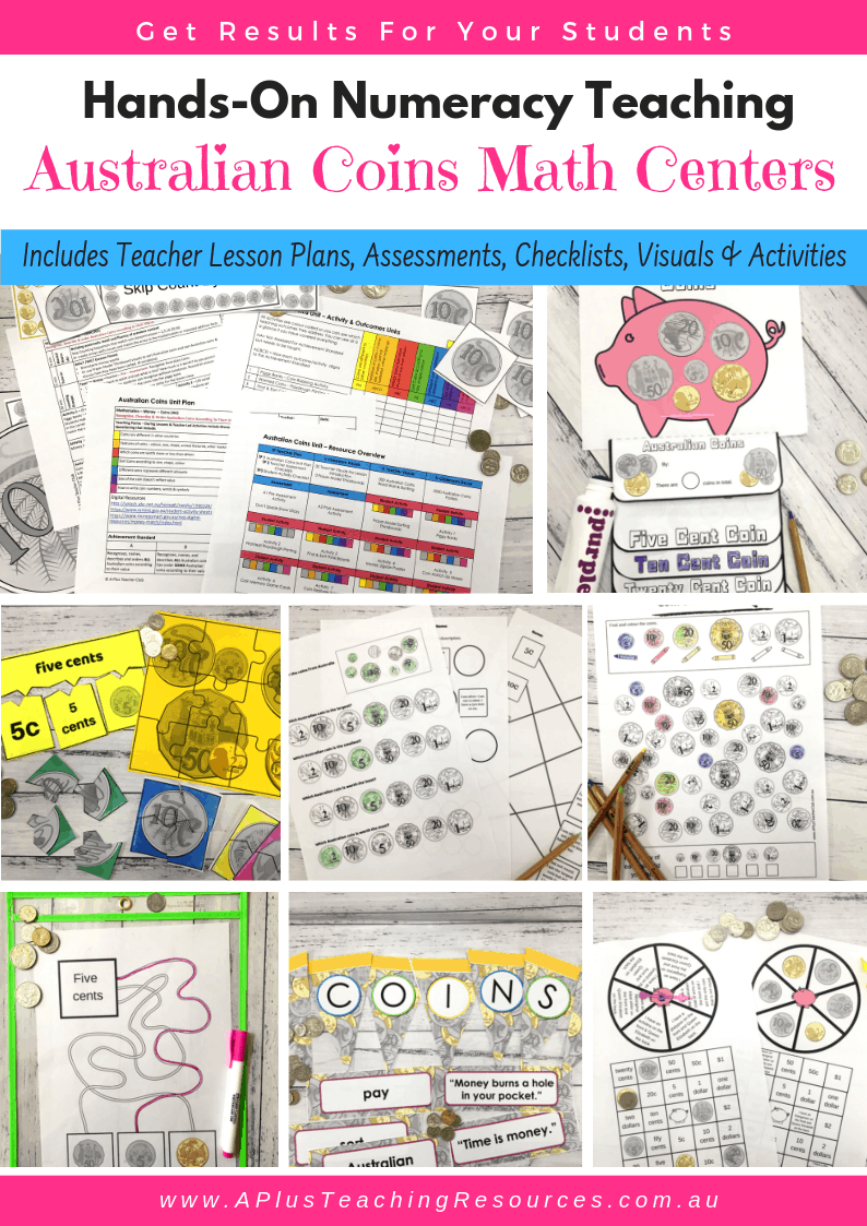 Teaching Australian Coins Math Centers Kit