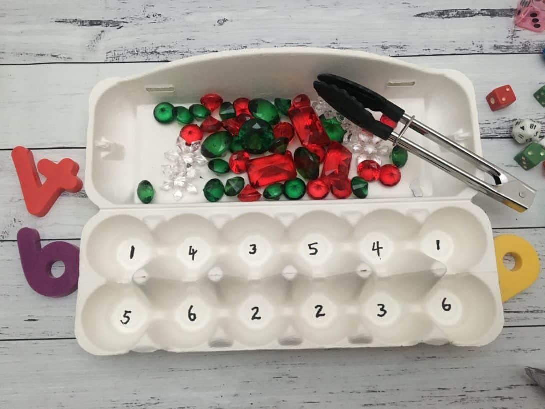 egg carton gems number maths