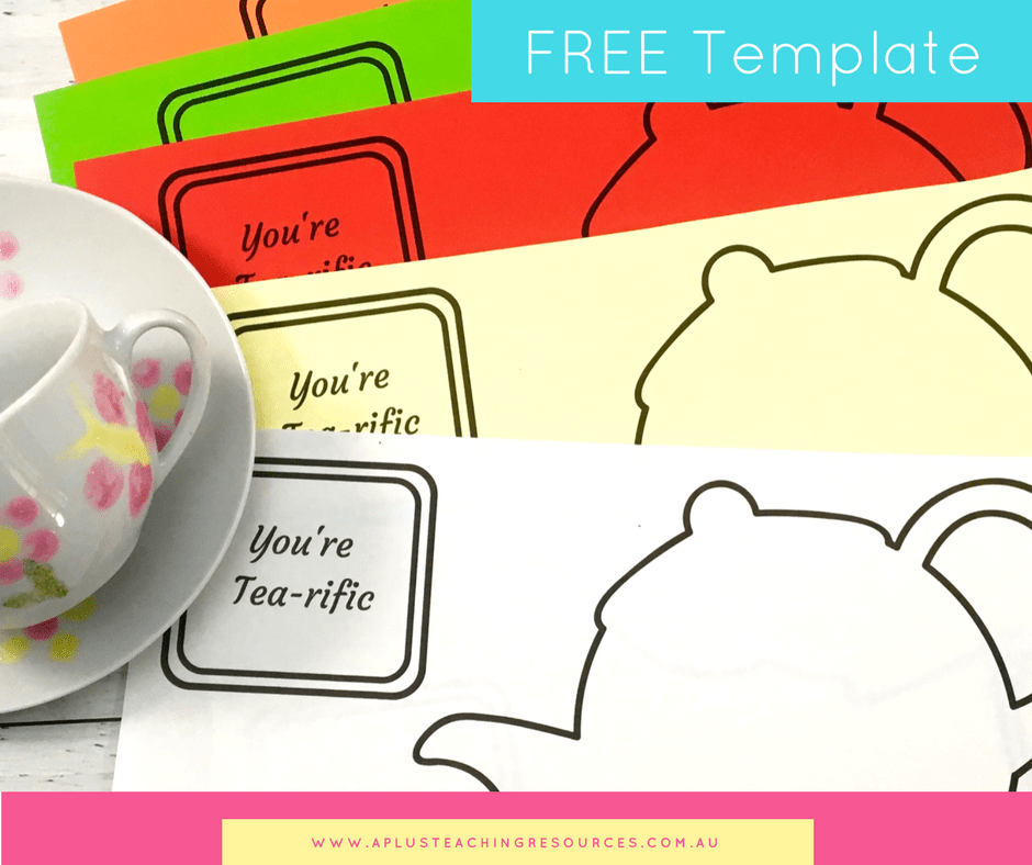 Free Mothers day Teapot card with tea bag template